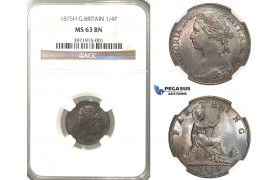 R325, Great Britain, Victoria, Farthing 1875-H, Heaton, NGC MS63BN