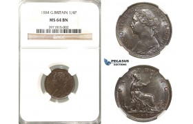 R326, Great Britain, Victoria, Farthing 1884, NGC MS64BN
