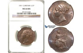 R327, Great Britain, Victoria, 1/2 Penny 1841, NGC MS64BN
