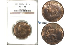 R328, Great Britain, Victoria, Penny 1895, NGC MS63RB