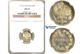 R335, Finland (under Russia) Nicholas II, 50 Penniä 1916-S, Silver, NGC MS65