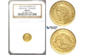 R34, Colombia, 1 Peso 1872 (Condor) Medellin, Gold, NGC MS64