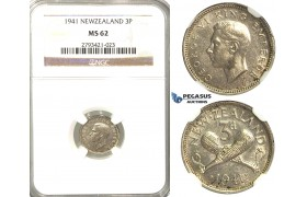 R341, New Zealand, George VI, Three pence (3 Pence) 1941, Silver, NGC MS62