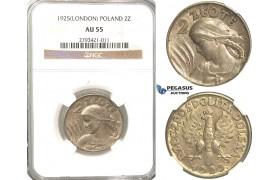R342, Poland, 2 Zlote 1925, London, Silver, NGC AU55