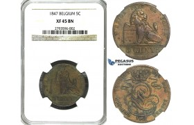 R346, Belgium, Leopold I, 5 Centimes 1847 (French Leg.) NGC XF45BN