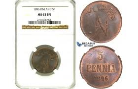 R348, Finland (under Russia) Nicholas II, 5 Penniä 1896, NGC MS63BN