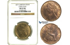 R349, Great Britain, Victoria, Penny 1877 (Large Date) NGC MS63RB