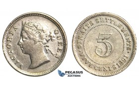 R353, Straits Settlements, Victoria, 5 Cents 1891, Silver, Nice (Cleaned)
