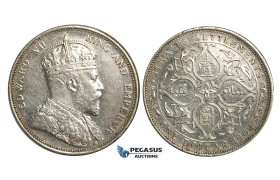 R355, Straits Settlements, Edward VII, Dollar 1904, Silver, Some Cleaning and Marks