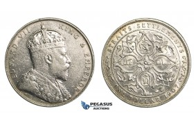R356, Straits Settlements, Edward VII, Dollar 1907-H, Heaton,  Silver, Some Cleaning and Marks