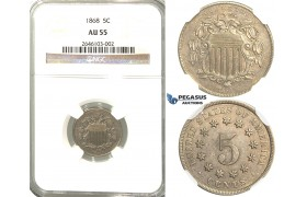 R358, United States, Shield 5 Cents 1868, NGC AU55