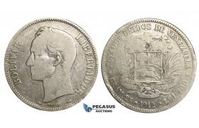 R369, Venezuela, 5 Bolivares 1912, Paris, Silver
