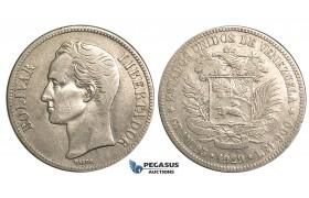 R371, Venezuela, 5 Bolivares 1929, Silver, Nice!