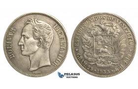 R372, Venezuela, 5 Bolivares 1935, Silver, Good details!