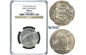 R384, Estonia (Tercentenary University of Tartu) 2 Krooni 1932, Silver, NGC MS64
