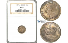 R39, Greece, George I, 20 Lepta 1874-A, Paris, Silver, NGC MS64 (Rainbow toning)
