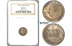 R39, Greece, George I, 20 Lepta 1874-A, Paris, Silver, NGC MS64 (Rainbow toning)
