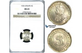 R391, Straits Settlements, George V, 5 Cents 1935, Silver, NGC MS65
