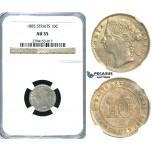 R393, Straits Settlements, Victoria, 10 Cents 1885, Silver, NGC AU55