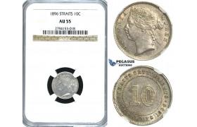 R394, Straits Settlements, Victoria, 10 Cents 1896, Silver, NGC AU55