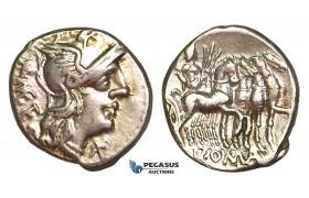 R396, Roman Republic, Q. Caecilius Metellus (130 BC) AR Denarius (3.85g) Rome, Quadriga