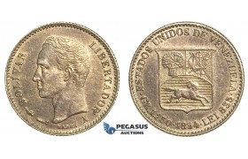 R402, Venezuela, 1/4 Bolivar 1894, Paris, Silver, High Grade, Dark toning (Light hairlines)