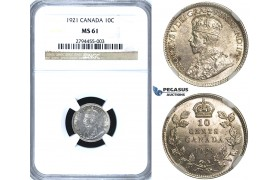 R404, Canada, George V, 10 Cents 1921, Silver, NGC MS61