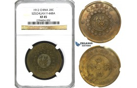 R406, China, Szechuan, 20 Cash 1912, Y-448, NGC XF45