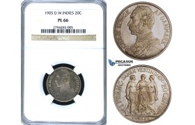 R408, Danish West Indies, Christian IX, 20 Cents/1 Franc 1905, Copenhagen, Silver, NGC PL66, Pop 1/1, Finest! Very Rare!