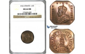 R414, Straits Settlements, George V, 1/2 Cent 1932, NGC MS64RB