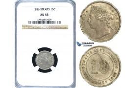 R417, Straits Settlements, Victoria, 10 Cents 1886, Silver, NGC AU53