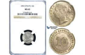 R418, Straits Settlements, Victoria, 10 Cents 1894, Silver, NGC MS63