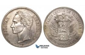 R423, Venezuela, 5 Bolivares 1905, Paris, Silver, ex. Mount, High Grade! Rare!