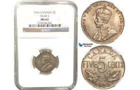 R425, Canada, George V, 5 Cents 1926 (Near 6) NGC MS62, Rare!