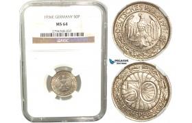 R429, Germany, 50 Reichspfennig 1936-E, Muldenhutten, NGC MS64