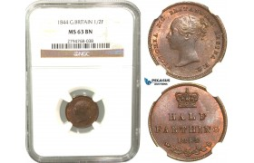 R430, Great Britain, Victoria, Half Farthing 1844, NGC MS63BN