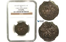 "R438, Morocco, Sidi Mohammed IV, 4 Falus AH1287, NGC VF30BN (Date error ""12887"")"