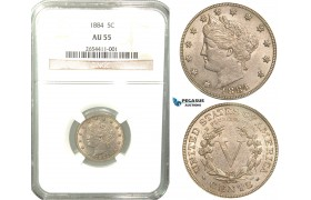 R445, United States, Libery Nickel (5 Cents) 1884, NGC AU55