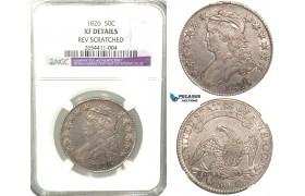 R446, United States, Caped bust Half Dollar (50C) 1826, Silver, NGC XF