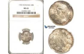 R45, Romania, Carol I, 50 Bani 1900, Hamburg, Silver, NGC MS65