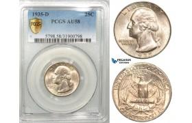 """R451, United States """"Washington Quarter"""" 25 Cents 1935-D, Denver, Silver, PCGS AU58"""
