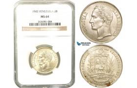 R452, Venezuela, 2 Bolivares 1945, Silver, NGC MS64