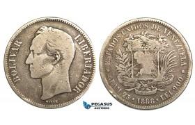 R453, Venezuela, 5 Bolivares 1888, Silver, VG-F