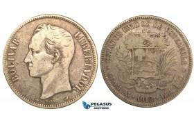 R454, Venezuela, 5 Bolivares 1912, Paris, Silver, gF