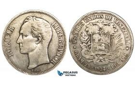 R456, Venezuela, 5 Bolivares 1924, Silver, Cleaned F-VF