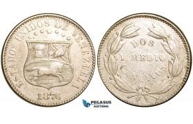R457, Venezuela, 2-1/2 Centavos 1876, Lovely coin!