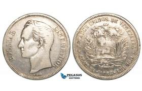 R459, Venezuela, 5 Bolivares 1886, Caracas, Silver, F-VF