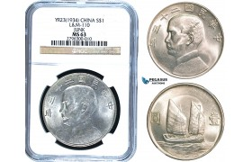 R468, China, Junk Dollar 1934, Silver, L&M-110, Y-345, NGC MS63