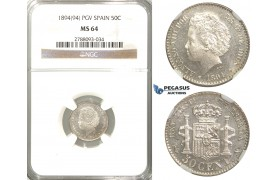 R47, Spain, Alfonso XIII, 50 Centimos 1894 (94) PG-V, Madrid, Silver, NGC MS64
