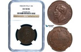 R473, Italy, Vit. Emanuele II, 10 Centesimi 1866-OM, Strasbourg, NGC AU58BN